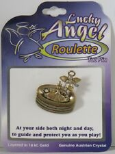 New LUCKY Angel ROULETTE Tac Pin PINBACK Protect as u PLAY Layered 18K & Austria