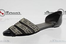 -Womens VINTAGE BY JEFFREY CAMPBELL black leather / fabric flats sz. 9.5