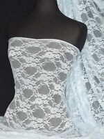 Baby Blue flower soft stretch lace wiith lycra fabric Q137 BBL