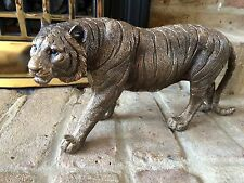 LARGE STUNNING BRONZED TIGER ORNAMENT BEAUTIFUL REALISTIC DESIGN GIFT IDEA
