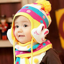New 2Pcs Baby Accessories Girls Boy Infant Winter Warm Wool Hat Scarf Caps