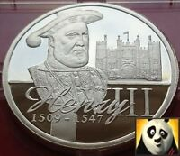 KING HENRY VIII SILVER PROOF COIN MEDAL+ COA, ONLY 15,000 WORLDWIDE!