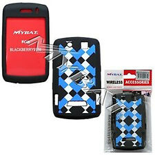 Blue Plaid Rubber Skin Case for BlackBerry Storm 9530