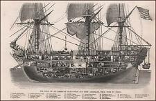 AMERICAN MAN OF WAR SHIP, Cross Section, antique engraving, original 1854