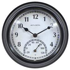 AcuRite Indoor/Outdoor Black Traditional Thermometer with Quartz Clock