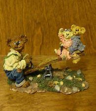 Boyds Bearstone #228350 Grandpa Bearikins w/ Molly & Jeff... Kid at Heart SEESAW