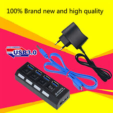 USB 3.0 Hub 4 Ports 5Gbps High Super Speed Adapter Cable W/Switch PC Laptop EU