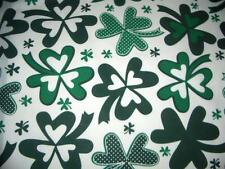 """St. Patricks Day Large Shamrocks Green White Cotton Quilt Fabric BTY 60"""" Wide"""