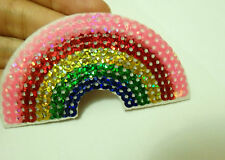 1 rainbow patches sequin applique iron on sew on motif sewing embellishment