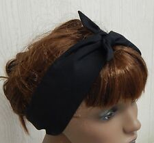 Retro self tie black cotton headband 50's hair scarf pin up women head scarf