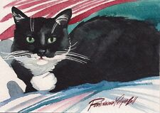 PRINT OF ORIGINAL WATERCOLOR PAINTING TUXEDO CAT KITTY KITTEN BLACK AND WHITE