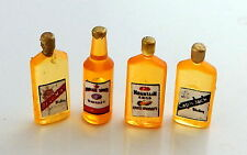 Dolls House Miniature Pub Bar Accessories Set of 4 Vintage Whiskey Bottles