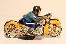 VINTAGE RARE USSR HAND WIND UP LITHO  TIN TOY MOTORCYCLIST SIMILAR LIKE SCHUCO