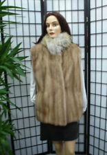 REFURBISHED NEW CANADIAN PASTEL MINK FUR VEST W/ COYOTE COLLAR WOMEN WOMAN SZALL