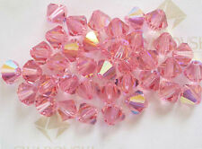 12 Light Rose AB Swarovski Crystal Beads Bicone 5328 6mm