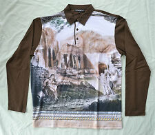 DOLCE & GABBANA ANCIENT RUINS LONG SLEEVED POLO T-SHIRT TOP BROWN SIZE MEDIUM 46