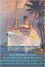 WOERMANN EAST AFRICA LINE vintage boat travel poster PALM TREES OCEAN 24X36