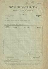 Antica Distinta di Versamento Intonsa del Monte dei Paschi di Siena 1900