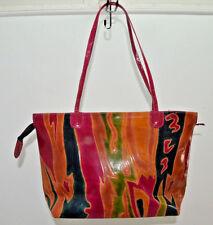 Tooled Leahter Flames Hot Pink Brown Made India Vintage Shoulder Bag Purse