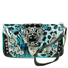 TURQUOISE LEOPARD RHINESTONE BUCKLE STITCHED LOOK ZIPPER WALLET WRISTLET STRAP