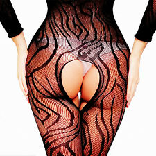 Womens Black Gothic Floral Fishnet Mini Dress Body Stocking Bodysuit Lingerie OS