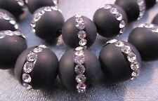 Matte Black Onyx w/ Rhinestone 12mm Round Beads 33 pcs