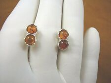 (pe28-24) AMBER Orange round 2 stone + 925 Sterling SILVER stud EARRINGS Jewelry