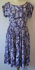 EMILY AND FIN Brand New Size L (14) Mauve Multi Floral Short Sleeve Tea Dress
