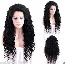Fashion Sexy Ladies Long Black blonde No Lace Cosplay Party Curly Wigs