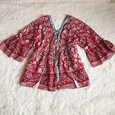 New ANTHROPOLOGIE Festival Bohemian Red Tassel Tie Peasant Blouse Top - Large