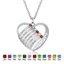 Family Names Birthstone Necklace Mothers Heart Pendants Family Anniversary Gift