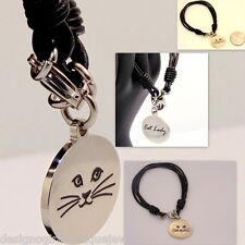 Cat Lady Bracelet Stainless Steel Silver Leather Multi-strand Cord  Kitty