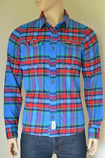NEW Abercrombie & Fitch Lake Harris Flannel Shirt Blue & Red Plaid S