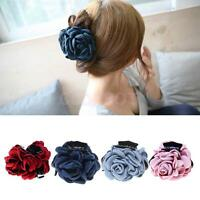 Vintage Fabric Flower Large Hair Clamp Claw Clip Barrette Accessories 4 Colors