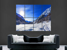 MOUNTAINS ROCKS SNOW SKING NATURE SUN WALL POSTER ART PICTURE PRINT LARGE