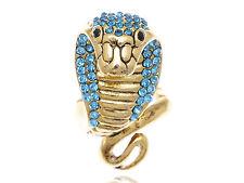 Gold Tone Noticeable Egyptian Curse Viper Cobra Blue Aqua Crystal Ring