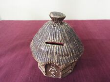 Papier Mache Missionary Collection Box - Africa Hut CMS collection Box/Bank