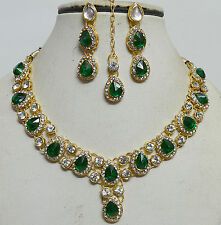 Designer Gold Plated Studded Diamonds Kundan Necklace Earring Tika Jewellery Set