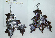 """KAY IMPORT Fashion Jewelry EARRINGS Hanging LEAF Cluster 3"""" long PEWTER"""