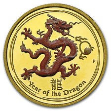 2012 1/10 oz Proof Gold Lunar Year of the Dragon Colorized Coin - SKU #72014