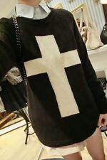 Women's Black Jumper with Beige Cross Sweater - Pullover Round Neckline