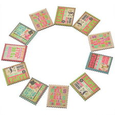 50PCs Randomly Mixed Wooden Embellishments Pasters Stamp Style