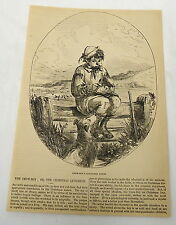 1859 magazine engraving & article ~ CROW-BOY'S CHRISTMAS LUNCH ~ child with dog