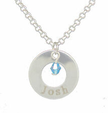 Ring Circle Silver Jewel Personalised Engraved Name Love Necklace Jewellery Gift