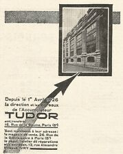 W7961 Accumulateur TUDOR - Pubblicità del 1926 - Old advertising