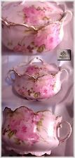 ANTIQUE RC BAVARIA GERMANY PINK BISCUIT CRACKER JAR LARGE PINK ROSES BAVARIAN