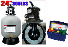 """Pro In/Above Ground 24"""" Sand Filter w/6 Position Valve 300LBSw/ 5Way Tester Kit"""