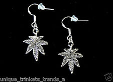 MARIJUANA POT LEAF CANNABIS WEED DANGLE CHARM SILVER EARRINGS~925 STERLING WIRES