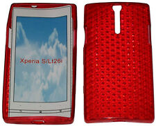 For Sony Xperia S LT26i LT26 Pattern Soft Gel Case Protector Cover Red New UK