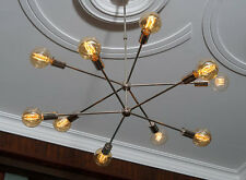 Modern Brass 10 arms Sputnik chandelier / Chromed brass Light Fixture